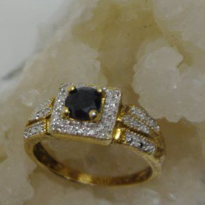 Vintage Gold Plated Blue Sapphire CZ Ring